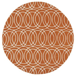 Cosmopolitan Circles Orange/Ivory Hand-Tufted Wool Rug (11'9 Round)