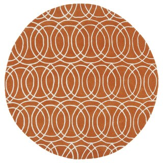 Cosmopolitan Circles Orange/Ivory Hand-Tufted Wool Rug (11'9 Round)