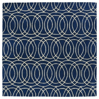 "Cosmopolitan Circles Navy/Ivory Hand-Tufted Wool Rug (7'9 x 7'9 Square) - 7'9"" x 7'9"""