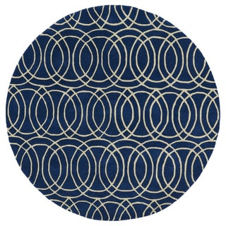 Cosmopolitan Circles Navy/Ivory Hand-Tufted Wool Rug (9'9 Round)