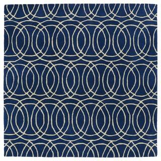 "Cosmopolitan Circles Navy/Ivory Hand-Tufted Wool Rug - 11'9"" x 11'9"""