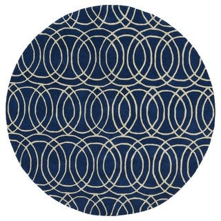 Cosmopolitan Circles Navy/ Ivory Hand-Tufted Wool Rug (3'9 Round)