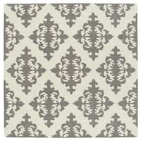 Runway Light Brown/Ivory Damask Hand-Tufted Wool Rug (9'9 x 9'9 Square)