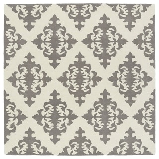 Runway Light Brown/Ivory Damask Hand-Tufted Wool Rug (3'9 x 3'9 Square)