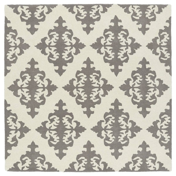 """Runway Light Brown/Ivory Damask Hand-Tufted Wool Rug - 3'9"""" Square"""