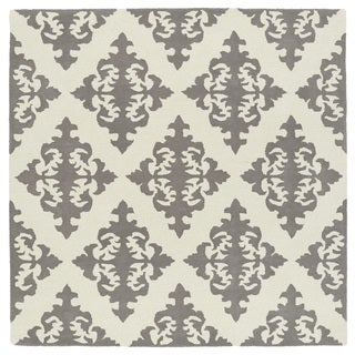 Runway Light Brown/Ivory Damask Hand-Tufted Wool Rug (11'9 x 11'9 Square)