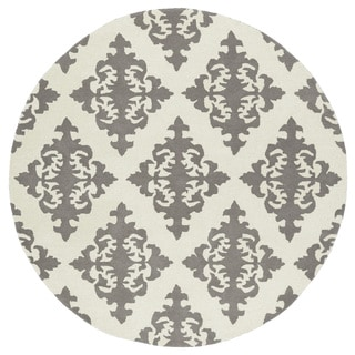 Runway Light Grey/Ivory Damask Hand-Tufted Wool Rug (11'9 Round)