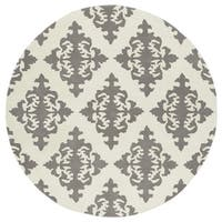 Runway Light Grey/Ivory Damask Hand-Tufted Wool Rug - 11'9