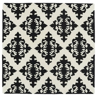 """Runway Black/ Ivory Damask Hand-Tufted Wool Rug (7'9 x 7'9 Square) - 7'9"""" x 7'9"""""""