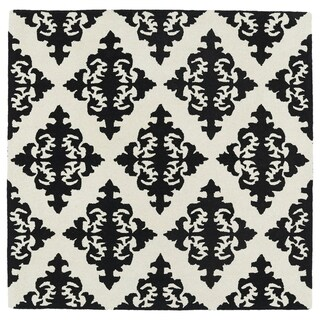 "Runway Black/ Ivory Damask Hand-Tufted Wool Rug - 7'9"" Square"