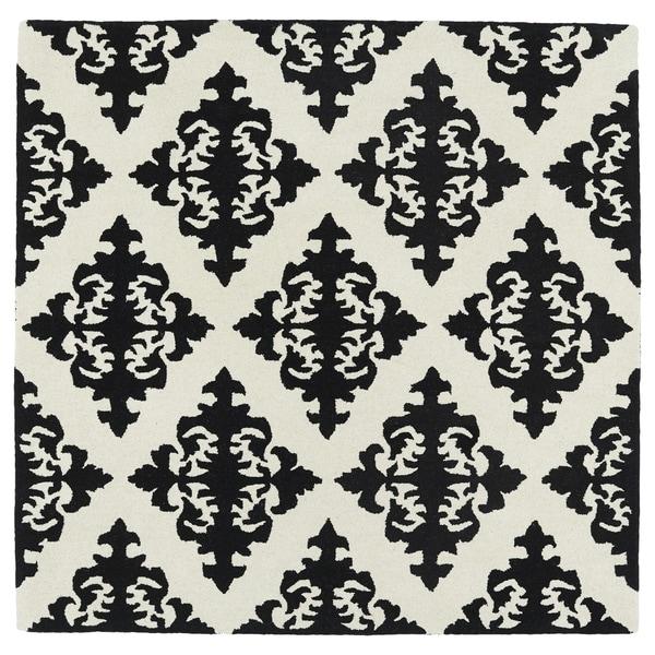 "Runway Black/Ivory Damask Hand-Tufted Wool Rug - 3'9"" Square"