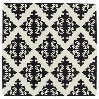 Runway Black/Ivory Damask Hand-Tufted Wool Rug (11'9 x 11'9 Square)
