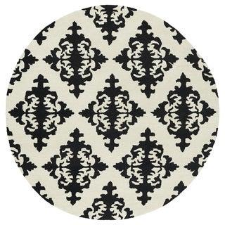 Runway Black/Ivory Damask Hand-Tufted Wool Rug (9'9 Round)