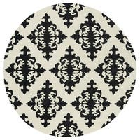 Runway Black/ Ivory Damask Hand-Tufted Wool Rug - 7'9