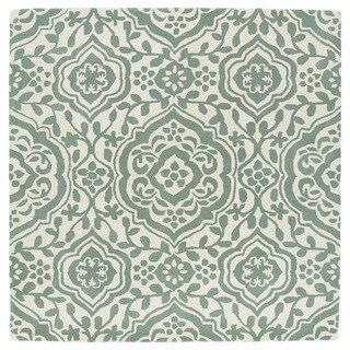 Runway Mint/Ivory Damask Hand-Tufted Wool Rug (9'9 x 9'9 Square)