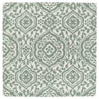 "Runway Mint/Ivory Damask Hand-Tufted Wool Rug - 7'9"" x 7'9"""