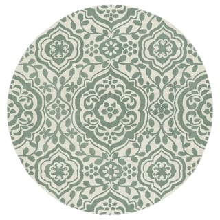 Runway Mint/Ivory Damask Hand-Tufted Wool Rug (3'9 Round)