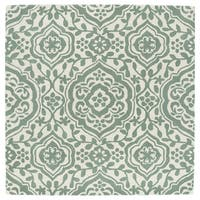 "Runway Mint/Ivory Damask Hand-Tufted Wool Rug - 11'9"" x 11'9"""