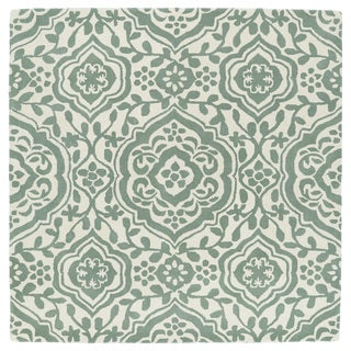 Runway Mint/Ivory Damask Hand-Tufted Wool Rug (11'9 x 11'9 Square)