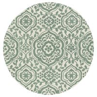 Runway Mint/ Ivory Damask Hand-Tufted Wool Rug - 5'9