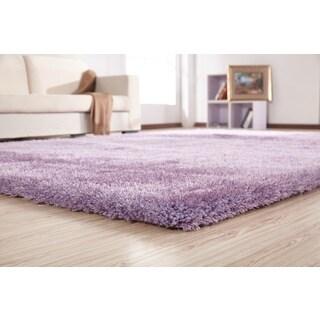 Lavender Polypropylene-blend Handmade Shag Area Rug (4' x 5'4) - 4' x 5'4