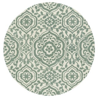 Runway Mint/ Ivory Damask Hand-Tufted Wool Rug (11'9 Round)
