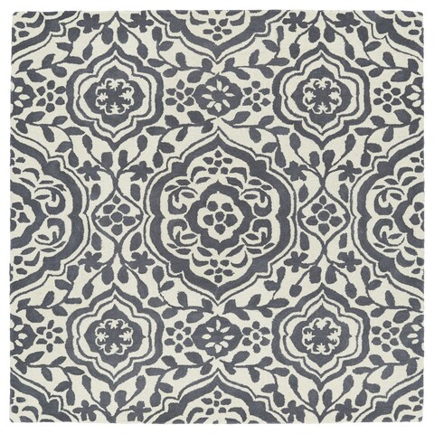 """Runway Charcoal/Ivory Damask Hand-Tufted Wool Rug - 9'9"""" Square"""