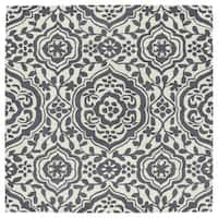 "Runway Charcoal/Ivory Damask Hand-Tufted Wool Rug - 9'9"" x 9'9"""