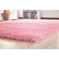 Pink Polypropylene/Polyester Handmade Shag Area Rug - 4' x 5'4