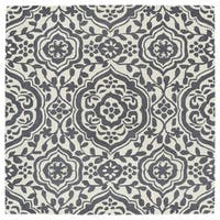 Runway Charcoal/Ivory Damask Hand-Tufted Wool Rug - 7'9 x 7'9