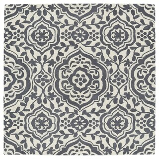 Runway Charcoal/Ivory Damask Hand-Tufted Wool Rug (7'9 x 7'9)