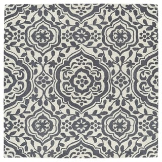 """Runway Charcoal/Ivory Damask Hand-Tufted Wool Rug - 7'9"""" Square"""