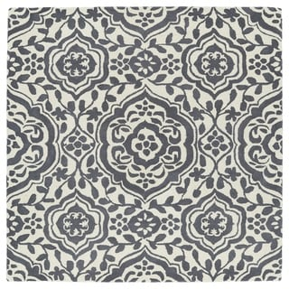 Runway Charcoal/Ivory Damask Hand-Tufted Wool Rug (3'9 x 3'9 Square)