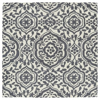 "Runway Charcoal/Ivory Damask Hand-Tufted Wool Rug (3'9 x 3'9 Square) - 3'9"" x 3'9"""