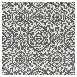 """Runway Charcoal/Ivory Damask Hand-Tufted Wool Rug - 3'9"""" Square"""