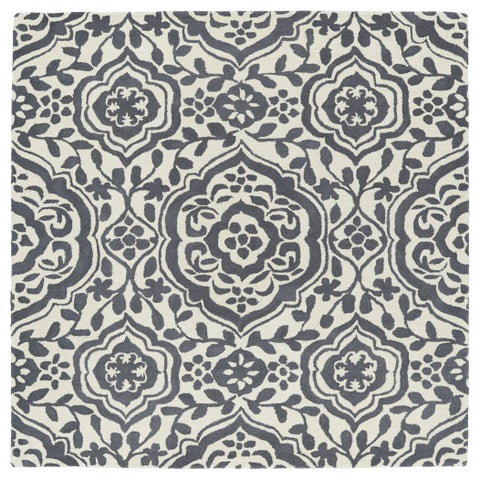 """Runway Charcoal/Ivory Damask Hand-Tufted Wool Rug - 11'9"""" Square"""