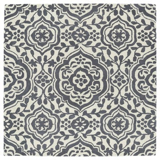 Runway Charcoal/Ivory Damask Hand-Tufted Wool Rug (11'9 x 11'9 Square)