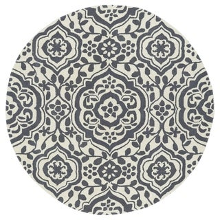 Runway Charcoal/Ivory Damask Hand-Tufted Wool Rug (5'9 Round)