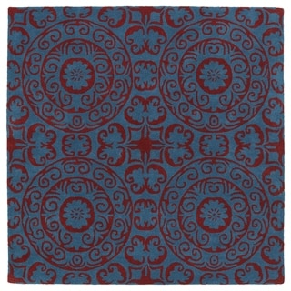Runway Peacock Blue/Red Suzani Hand-Tufted Wool Rug (7'9 x 7'9 Square)