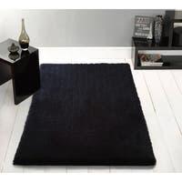 Handmade Black Shag Area Rug - 4' x 5'4