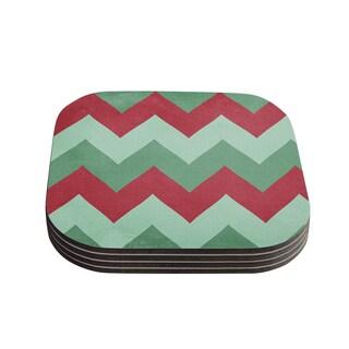 Kess InHouse Catherine McDonald 'Holiday Chevrons' Coasters (Set of 4)