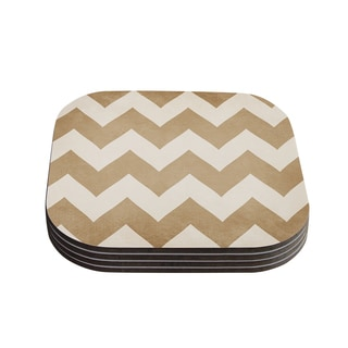 Kess InHouse Catherine McDonald 'Biscotti and Cream' Chevron Coasters (Set of 4)
