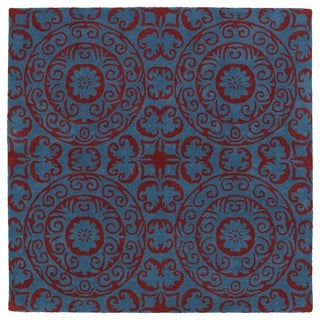 Runway Peacock Blue/ Red Suzani Hand-Tufted Wool Rug (5'9 Square)