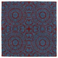 "Runway Peacock Blue/Red Suzani Hand-Tufted Wool Rug - 3'9"" x 3'9"""