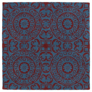 Runway Peacock Blue/Red Suzani Hand-Tufted Wool Rug (11'9 x 11'9 Square)