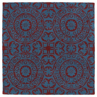 "Runway Peacock Blue/Red Suzani Hand-Tufted Wool Rug - 11'9"" x 11'9"""