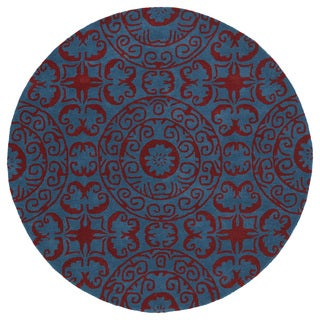 Runway Peacock Blue/Red Suzani Hand-Tufted Wool Rug (9'9 Round)