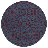 Runway Peacock Blue/Red Suzani Hand-Tufted Wool Rug - 9'9
