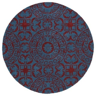 Runway Peacock Blue/ Red Suzani Hand-Tufted Wool Rug (7'9 Round)