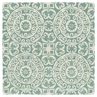 Runway Mint/Ivory Suzani Hand-Tufted Wool Rug (9'9 x 9'9 Square)